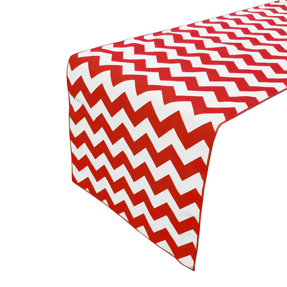 Cotton Print Table Runner Chevron Red