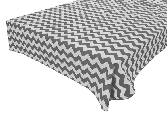 Cotton Zig-zag Chevron Tablecloth Charcoal Grey