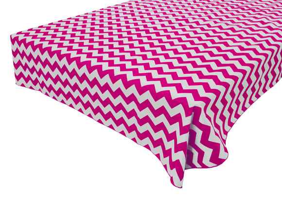 Cotton Zig-zag Chevron Tablecloth Fuchsia