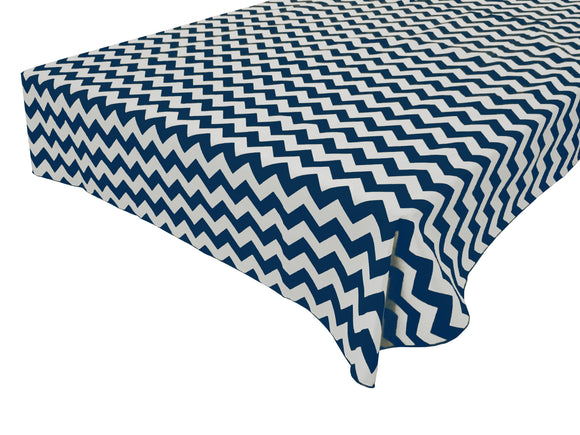 Cotton Zig-zag Chevron Tablecloth Navy Blue
