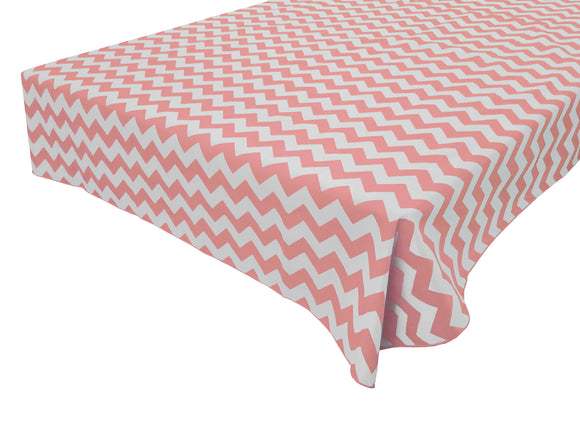 Cotton Zig-zag Chevron Tablecloth Pink