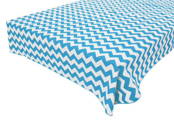 Cotton Zig-zag Chevron Tablecloth Turquoise