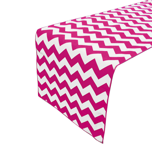 Cotton Print Table Runner Chevron Fuchsia
