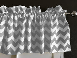 "Cotton Chevron Window Valance 58"" Wide Grey"