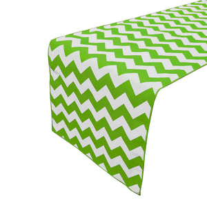 Cotton Print Table Runner Chevron Green