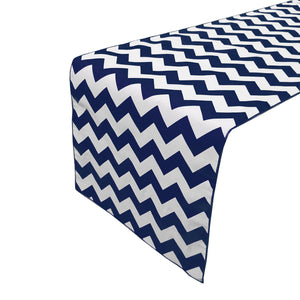 Cotton Print Table Runner Chevron Navy
