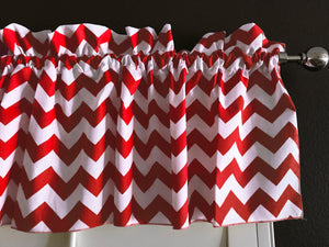 "Cotton Chevron Window Valance 58"" Wide Red"