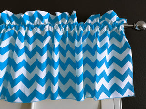 "Cotton Chevron Window Valance 58"" Wide Turquoise"