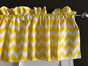 "Cotton Chevron Window Valance 58"" Wide Yellow"