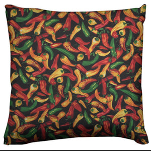 Cotton Chili Peppers Print Fruits Decorative Throw Pillow/Sham Cushion Cover Black