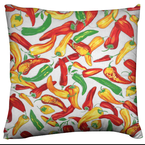 Cotton Chili Peppers Print Fruits Decorative Throw Pillow/Sham Cushion Cover White