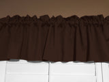 "Solid Poplin Window Valance 58"" Wide Chocolate Brown"