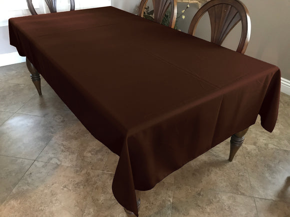 Solid Poplin Tablecloth Chocolate Brown