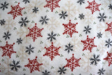 "100% Cotton Flannel Christmas Print Window Valance 42"" Wide Snowflakes on White"