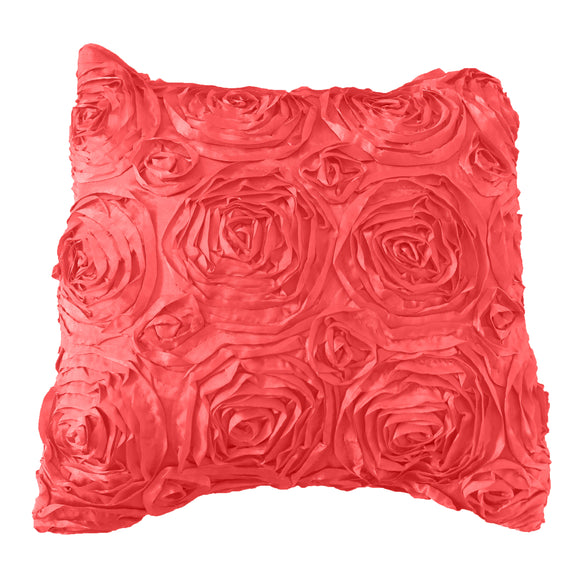 Satin Rosette Decorative Throw Pillow/Sham Cushion Cover Coral