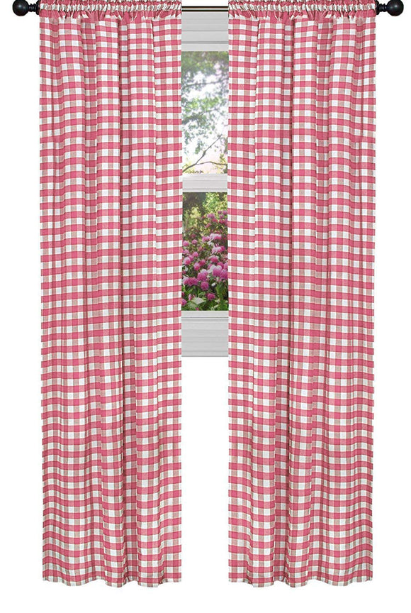 Poplin Gingham Checkered Window Curtain 56 Inch Wide Coral