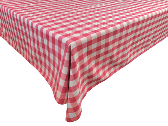 Poplin Gingham Checkered Plaid Tablecloth Coral