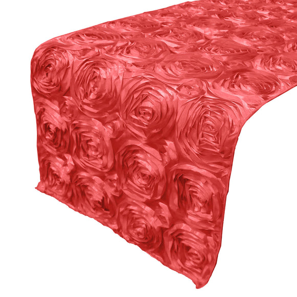 Satin Rosette Table Runner Raised Roses Coral