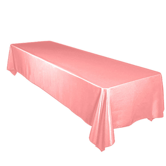 Shiny Satin Solid Tablecloth Coral