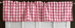 "Poplin Gingham Checkered Window Valance 58"" Wide Coral"