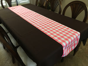 Poplin Table Runner Gingham Checkered Coral
