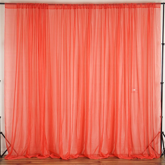 Sheer Chiffon Curtain Panel 58 Inch Wide Window Treatment Coral