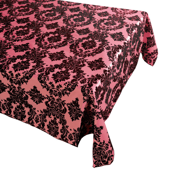 Flocking Damask Taffeta Tablecloth Coral
