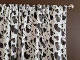Cotton Cow Print Window Curtain 58 Inch Wide Black