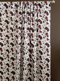 Cotton Cow Print Window Curtain 58 Inch Wide Brown