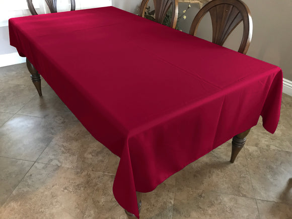 Solid Poplin Tablecloth Cranberry Red
