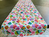 Cotton Print Table Runner Celebration Party Cupcakes