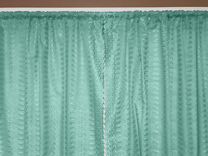 "Cotton Eyelet Window Curtains Scalloped Sides (2 Piece Set) 42"" Wide Panels Aqua"
