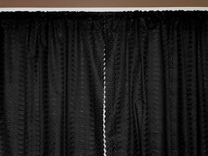 "Cotton Eyelet Window Curtains Scalloped Sides (2 Piece Set) 42"" Wide Panels Black"