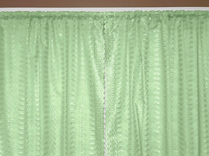 "Cotton Eyelet Window Curtains Scalloped Sides (2 Piece Set) 42"" Wide Panels Mint"
