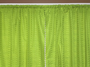 "Cotton Eyelet Window Curtains Scalloped Sides (2 Piece Set) 42"" Wide Panels Lime Green"