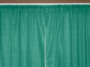 "Cotton Eyelet Window Curtains Scalloped Sides (2 Piece Set) 42"" Wide Panels Teal"