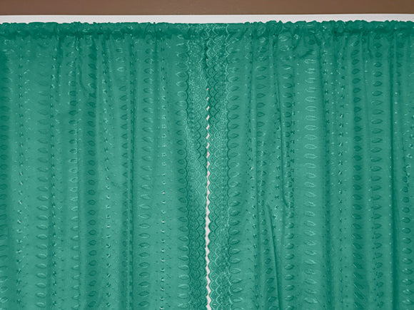 Cotton Eyelet Window Curtains Scalloped Sides (2 Piece Set) 42
