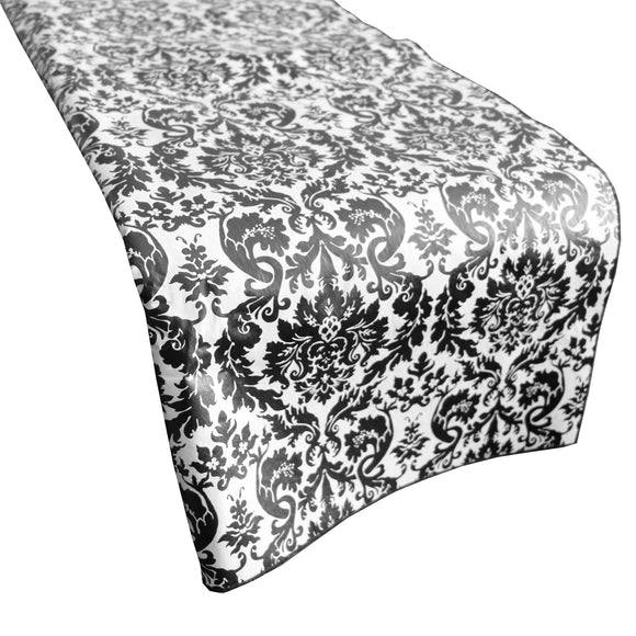 Plastic Table Runner Non-Slip Flannel Backing - Damask Black White
