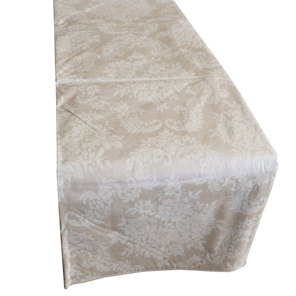 Plastic Table Runner Non-Slip Flannel Backing - Damask Ivory