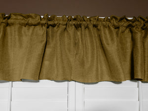 "Faux Burlap Window Valance 58"" Wide Dark Gold"