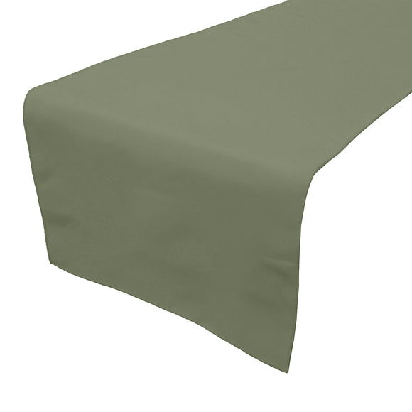 Poplin Table Runner Solid Dark Sage