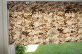 "Cotton Blend Digital Desert Camouflage Print Kitchen Curtain Tier/Valance Window Treatment 58"" Wide"
