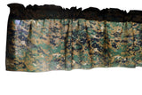 "Cotton Blend Digital Jungle Camouflage Print Kitchen Curtain Tier/Valance Window Treatment 58"" Wide"