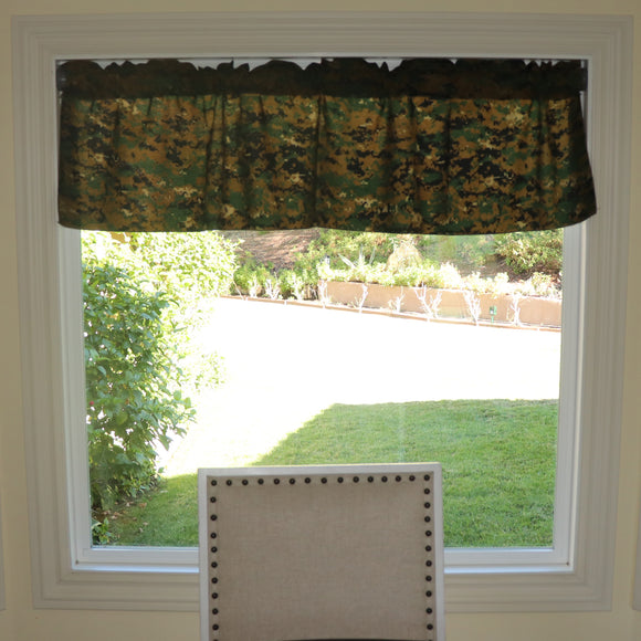 Cotton Blend Digital Jungle Camouflage Print Kitchen Curtain Tier/Valance Window Treatment 58