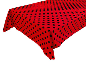Cotton Polka Dots Tablecloth Black Dots on Red