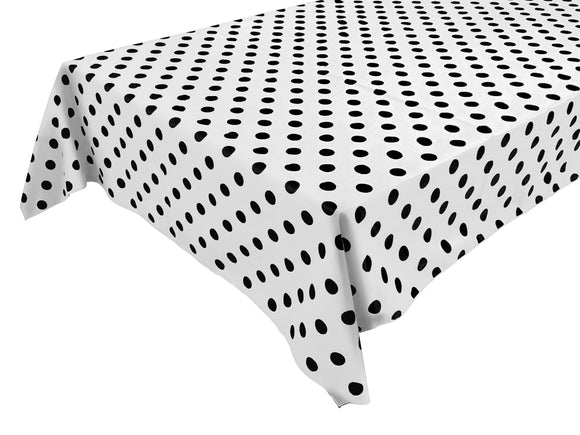 Cotton Polka Dots Tablecloth Black Dots on White
