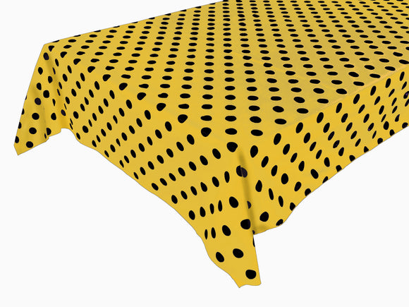 Cotton Polka Dots Tablecloth Black Dots on Yellow