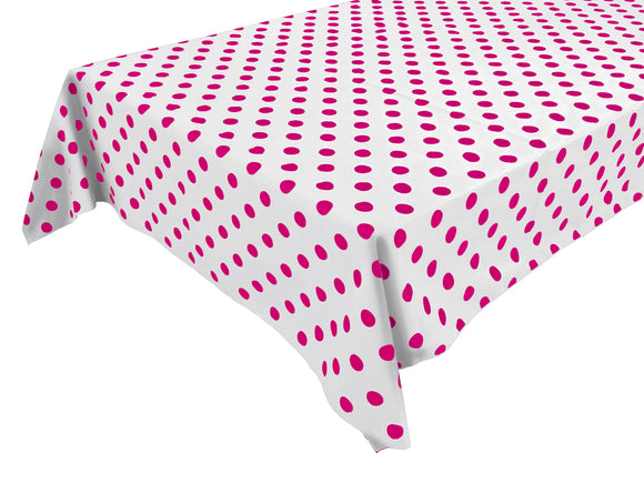 Cotton Polka Dots Tablecloth Fuchsia Dots on White