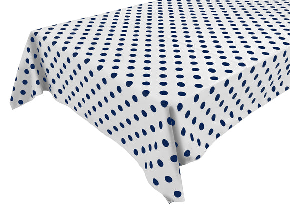 Cotton Polka Dots Tablecloth Navy Dots on White