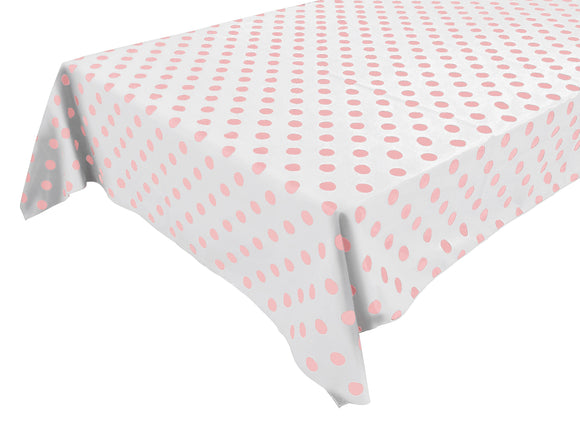 Cotton Polka Dots Tablecloth Pink Dots on White